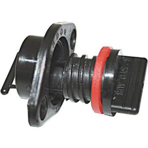 Complete transom drain and plug assembly including washer