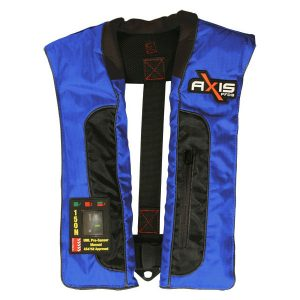 Axis Offshore Pro Mk2 manual self inflating life jacket in blue with black inserts
