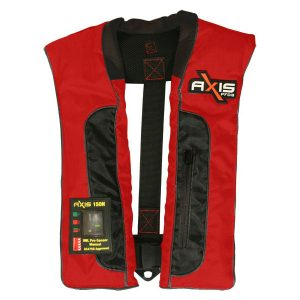 Axis pfd offshore Pro Mk2 manually inflated 150 life jacket - red in colour with black inserts