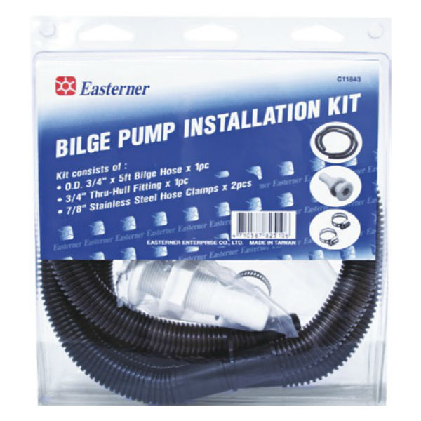 "complete bilge pump installation kit for 20mm or 3/4"" bilge pumps. suits most small craft"