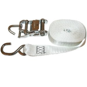 Heavy Duty boat tie down strap. Stainless steel ratchet, 50mm wide strap with 550kg lashing capacity