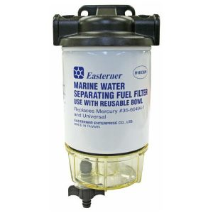 Mercury style boat fuel filter and water separator kit complete with clear bowl and screw on filter