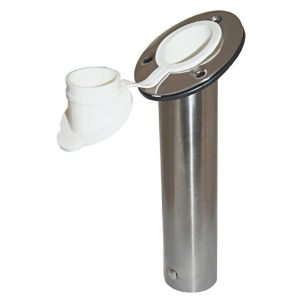 Stainless steel boat fishing rod holder with fully welded shaft