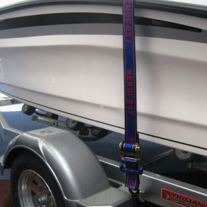 Aerofast heavy duty boat tie down straps securing a boat to its trailer