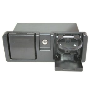 Deluxe glove box black with folding drink holders RWB652