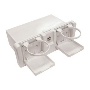 Deluxe glove box white with folding drink holders RWB652W